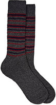 Barneys New York Men's Striped Cashmere-Blend Socks-DARK GREY, NAVY, RED, GREY