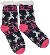IvyFlair Extra Thick Thermal Fleece Reindeer Snowflake Non-Skid Slipper Socks