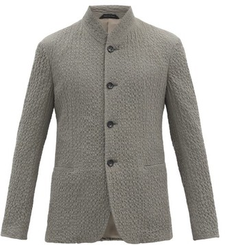 Giorgio Armani Single-breasted Seersucker Blazer - Grey