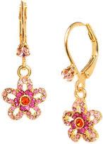 Betsey Johnson Crystal Flower Drop Earrings