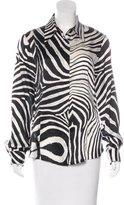 Just Cavalli Silk Zebra Print Top