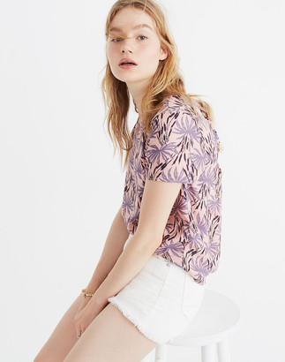Madewell Tie-Back Cutout Top in Oasis Palms