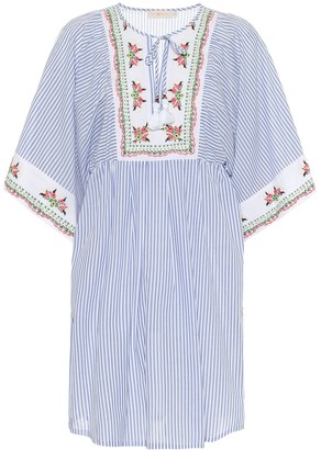 Tory Burch Embroidered striped cotton kaftan