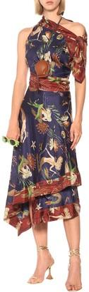 Loewe Paulas Ibiza silk-satin midi dress