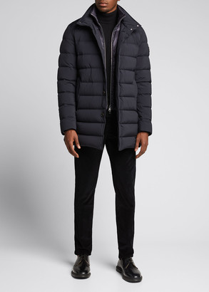 Moncler Men's Bornes Quilted Stretch-Nylon Coat