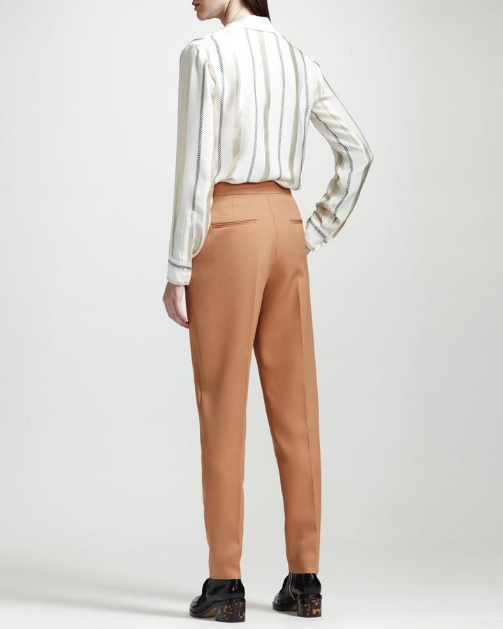Stella McCartney Wool Twill Center-Pleat Ankle Pants