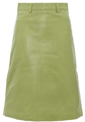 Dodo Bar Or Lolita Crocodile-effect Leather Skirt - Light Green