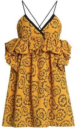 Victoria Victoria Beckham Victoria, Victoria Beckham Ruffle-trimmed Printed Cloque Mini Dress