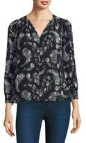 Rebecca Taylor Floral Print Silk Long Sleeve Jewel Top