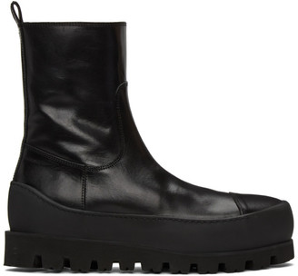 Ann Demeulemeester Black Leather Zip Boots