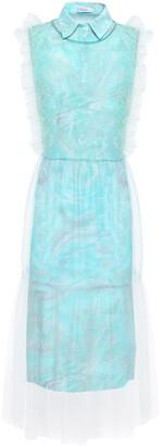 Isolda Printed Tulle And Crepe-satin Midi Shirt Dress