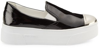 Miu Miu Cap-Toe Metallic Platform Slip-On Sneakers
