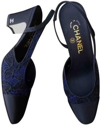 Chanel Slingback Navy Cloth Heels