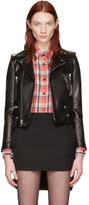 Saint Laurent Black Leather Cassandre Motorcycle Jacket