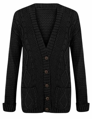 21Fashion Ladies Fancy Chunky Cable Knitted Grandad Cardigan Womens Pockets V Neck Sweater Black