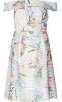 Dorothy Perkins Womens Petite White Floral Bardot Prom Dress- White