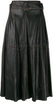 Golden Goose akemi leather A-line high waist skirt