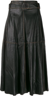 Golden Goose akemi leather A-line high waist skirt