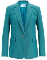 HUGO BOSS - Slim Fit Jacket In Sharkskin Virgin Wool - Turquoise