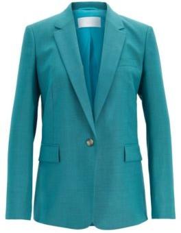 HUGO BOSS Slim Fit Jacket In Sharkskin Virgin Wool - Turquoise