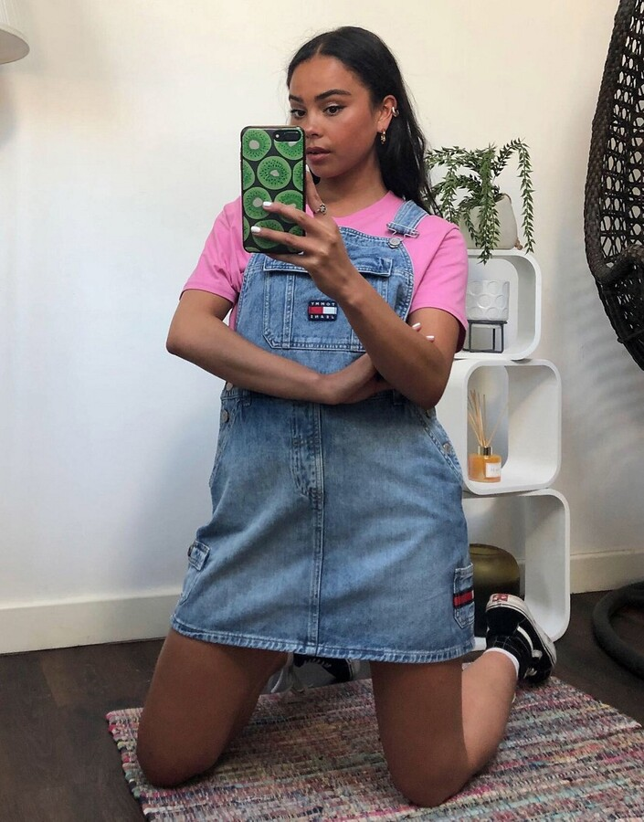Tommy Jeans overall dress in blue