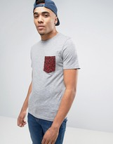 Jack and Jones Leopard Print Logo T-Shirt in Gray