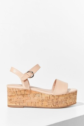 Nasty Gal Womens Step This Way Faux Leather Platform Sandals - Nude