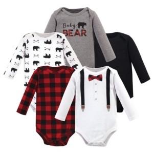 Little Treasure Baby Boy Long Sleeve Bodysuits, 5 Pack