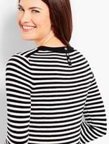Talbots Striped Flounce-Sleeve Crewneck Sweater
