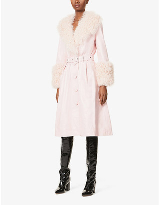 Saks Potts Foxy shearling-trim leather coat