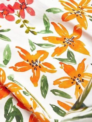 Badgley Mischka Floral Stretch-Cotton Puff-Sleeve Dress