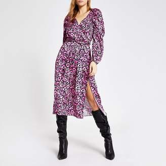 River Island Pink floral long sleeve wrap midi dress