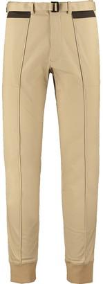 Ribbed Hem Stretch-Cotton Twill Pants - Beige