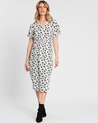 Dorothy Perkins Shirred Tie Midi Dress