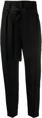 Elisabetta Franchi High-Waisted Tie Front Trousers