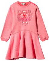 Kenzo Pink Marl Embroidered Tiger Skater Dress