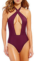 Gianni Bini Solid Wrap Front One-Piece