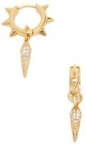 Rebecca Minkoff Pave Spike Charm Studded Huggie Hoop Earrings