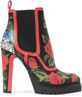 Alexander McQueen Embellished Floral-print Ankle Leather Boots - Red