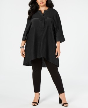 Anne Klein Plus Size Mixed-Media Tunic