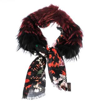 Roberto Cavalli Black Floral Print Fur Lined Cashmere Shawl