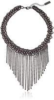 Steve Madden Black Leather with Fringe Choker Chain Necklace