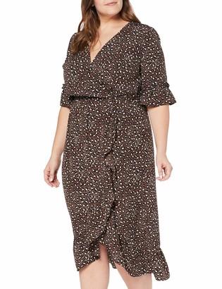 Studio Untold Women's Plus Size Ruffle Wrap Look Dress