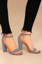 Bamboo Veda Black and White Striped Ankle Strap Heels