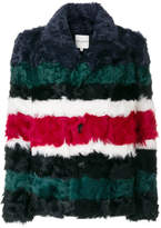 Each X Other striped fur jacket