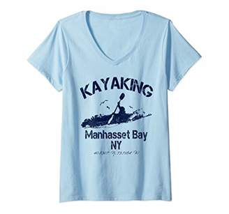 Womens Kayaking Manhasset Bay New York Nautical Distressed V-Neck T-Shirt