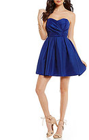 Teeze Me Strapless Sweetheart Neck Wrap Bodice Satin Fit-and-Flare Dress