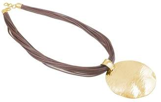 Adami & Martucci 24K Gold Plated Sterling Silver & Leather Disc Pendant Necklace
