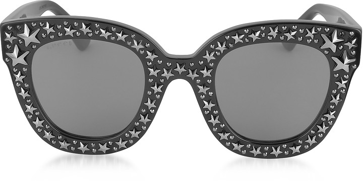 Gucci GG0116S Acetate Cat Eye Women's Sunglasses w/Stars feature star worthy retro