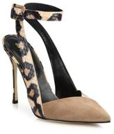 Sergio Rossi Bright Leopard Skin Posh Suede & Leather d'Orsay Pumps